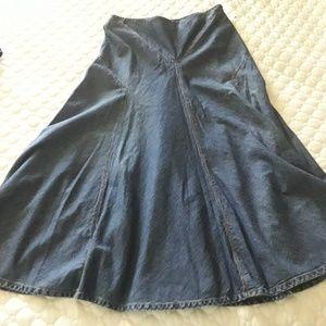 Ralph Lauren 6 Denim Flared Skirt Vintage Style